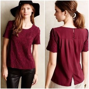 Anthropologie Embroidered Lace Tee Maroon